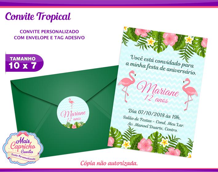 Convite Tropical Flamingo Elo7