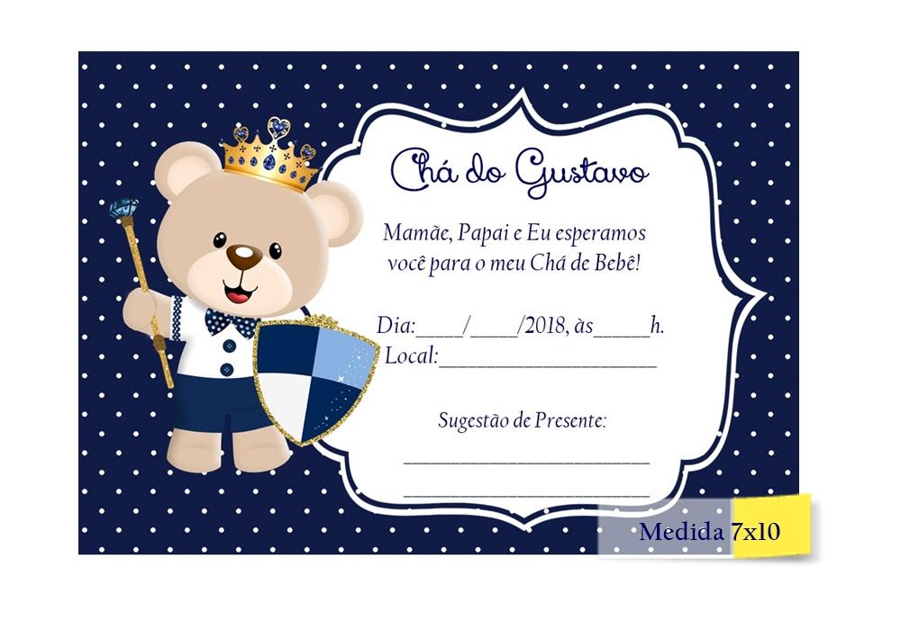 Convite Chá De Bebê Azul Marinho Elo7