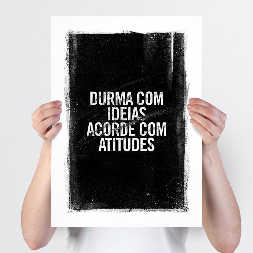 Poster Frase A4 Tranforme Ideias Em Atitudes