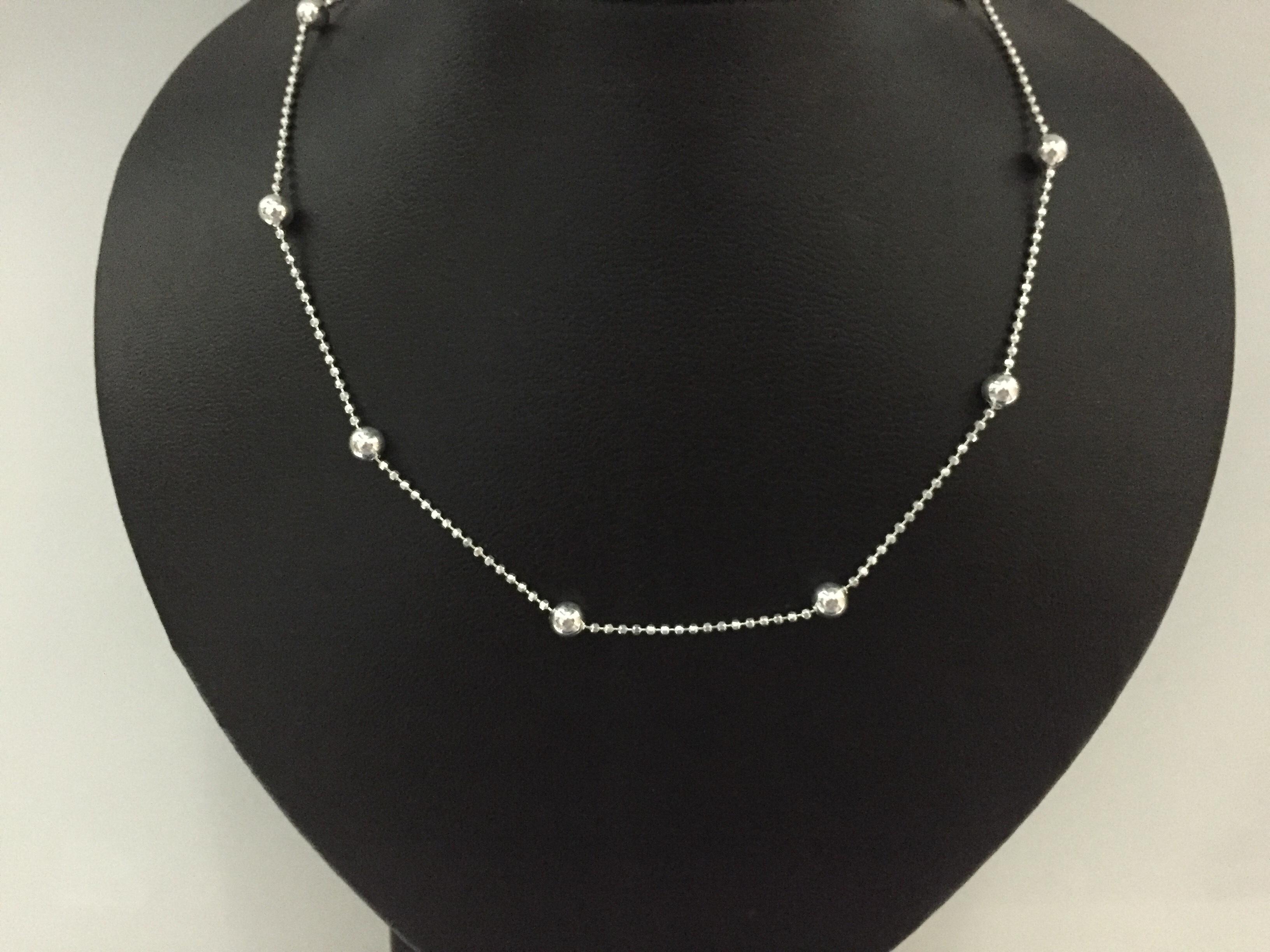03306db3f4010 Corrente de Prata Bolinhas Diamantadas