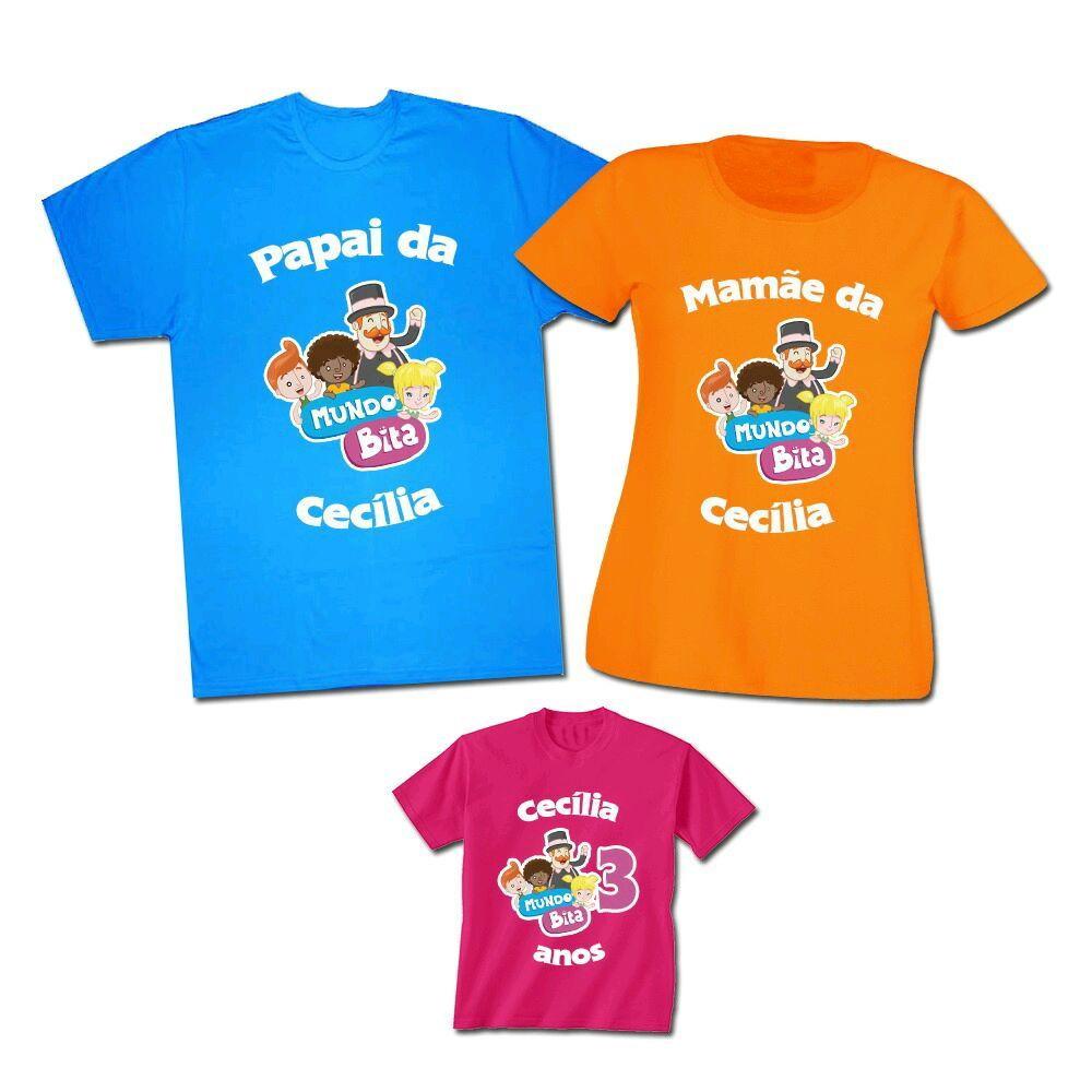 Kit Familia Personalizado Mundo Bita com 3 Camisetas  2e32a1f82e9a8