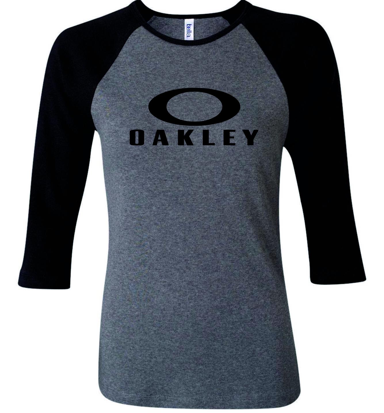 cdb07f7b56 Camiseta Raglan Oakley manga 3 4 Cinza no Elo7