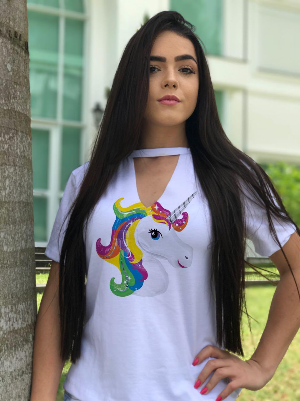 Blusas Femininas Chocker Unicornio Donut Colorido  6a761cf20ad62