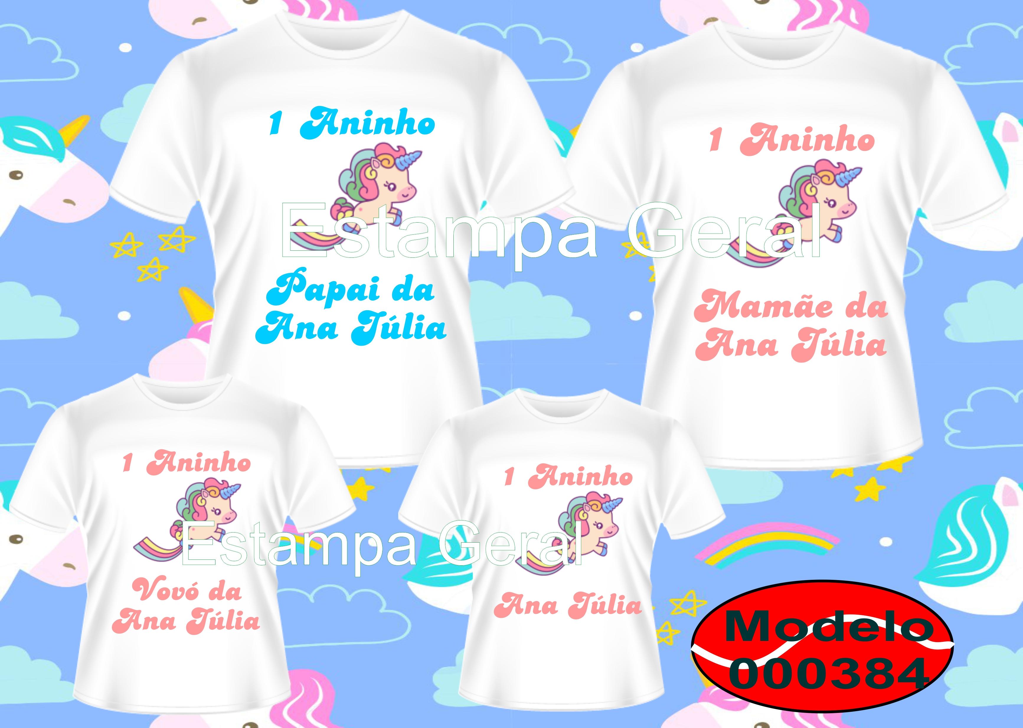 Kit Camiseta Aniversário Tema Unicórnio C4 No Elo7 Estampa Geral