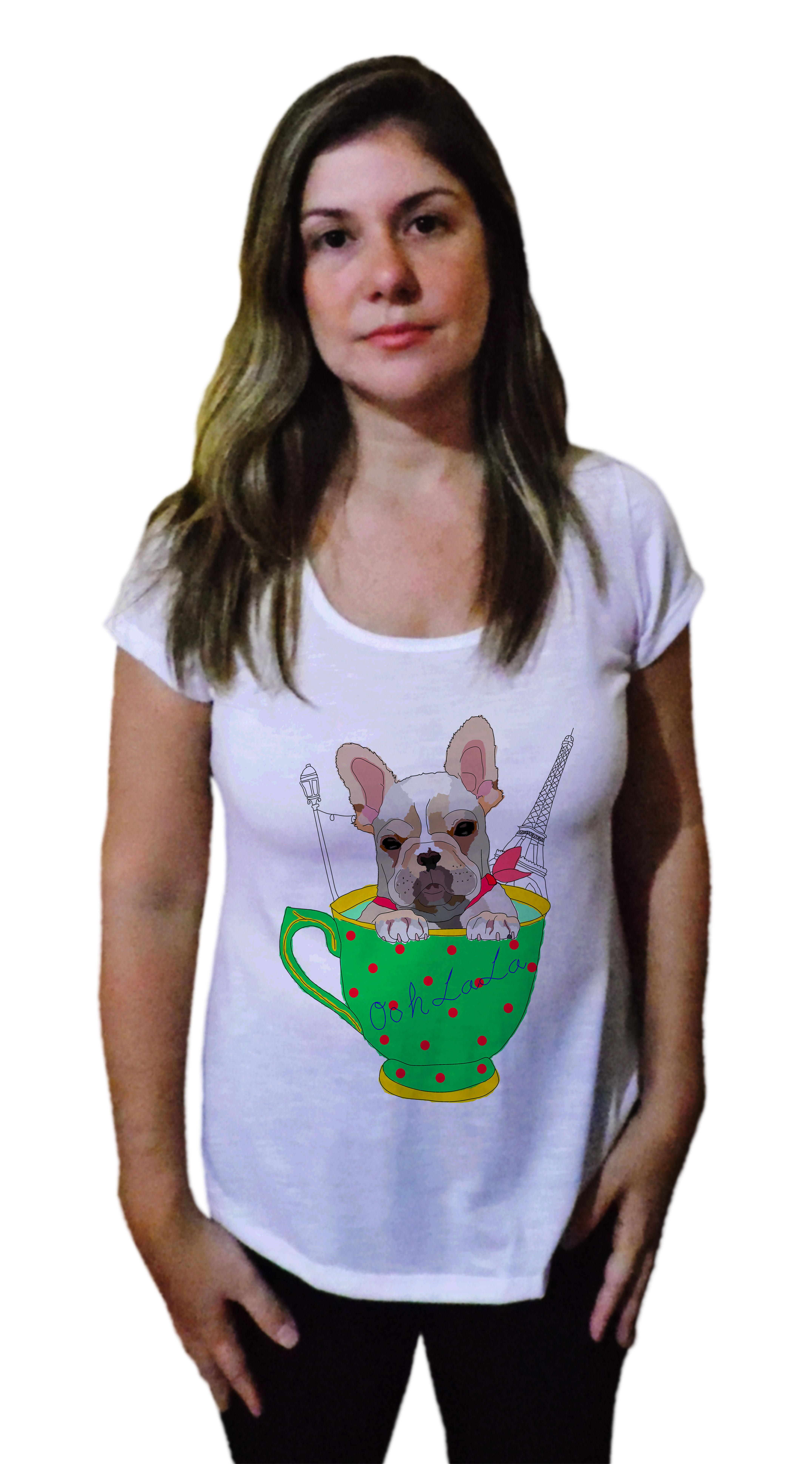Camiseta Feminina Bulldog Frances Blusa Buldogue Paris  27764cfb4e1a6