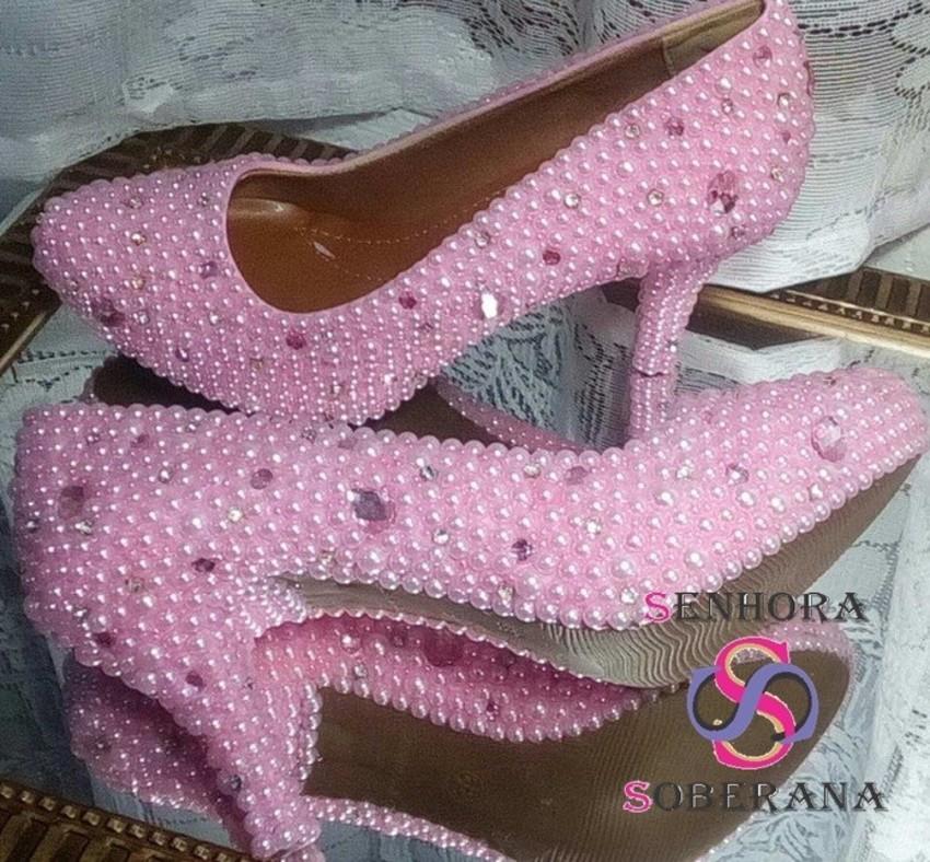 e6ccfac8ce Sapato Meia Pata Rosa com pérolas Cinderela Luxo (Noivas) no Elo7 ...