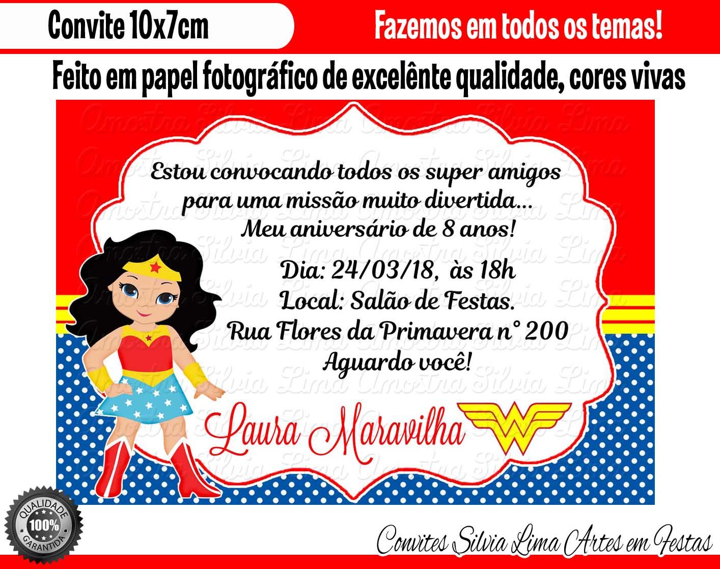 Convite Mulher Maravilha Elo7