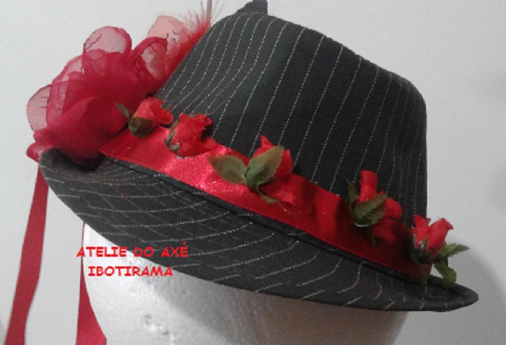 chapéu rosa com flor e fita preta ea48a5b73ea