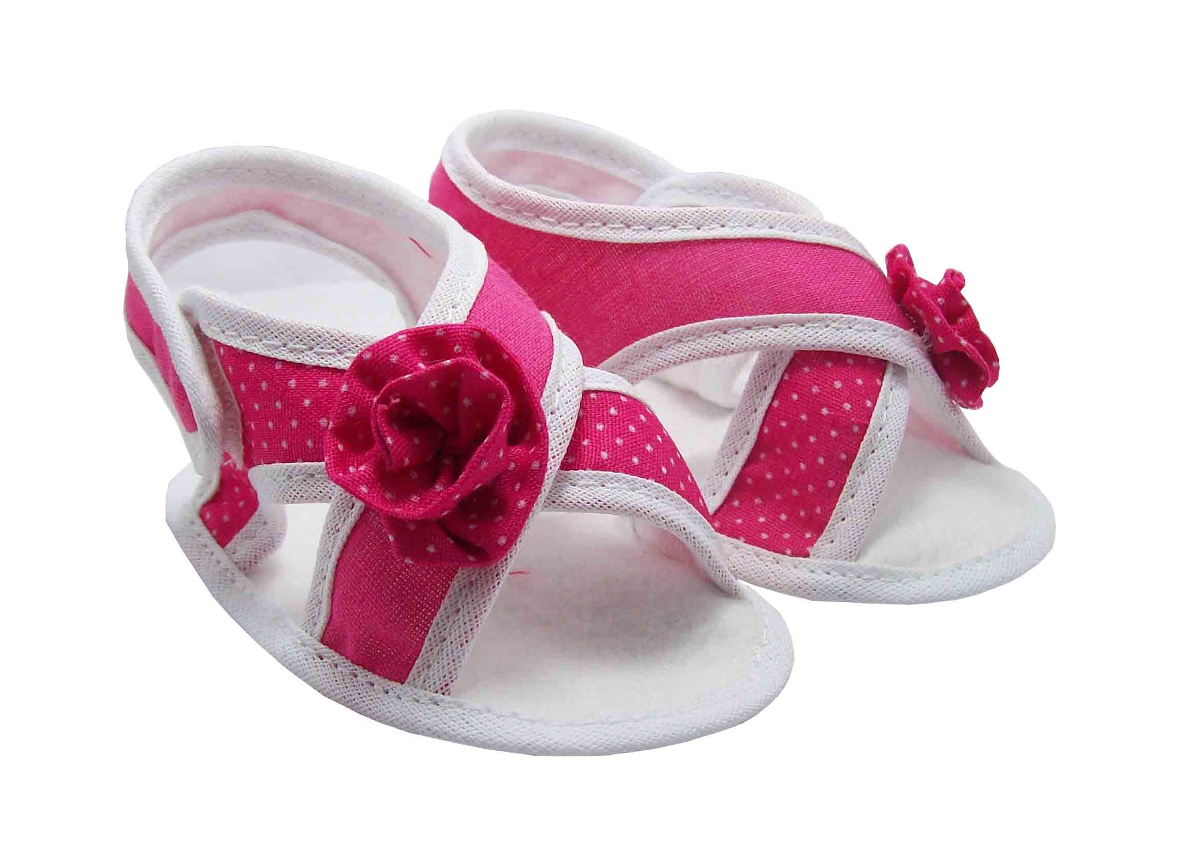 aaa68aaed Sapatinho de Bebê Sandália Bebê Branca e Pink Poá no Elo7 ...