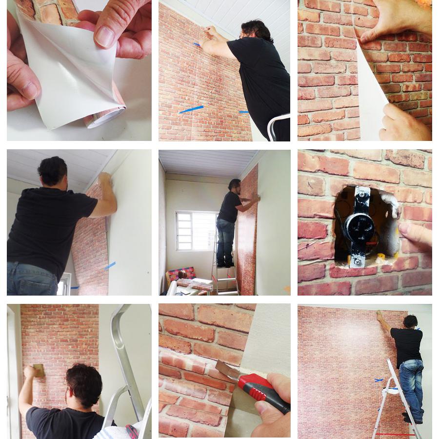 c3e78eb36 Papel de parede tipo madeira em tons laranja no Elo7