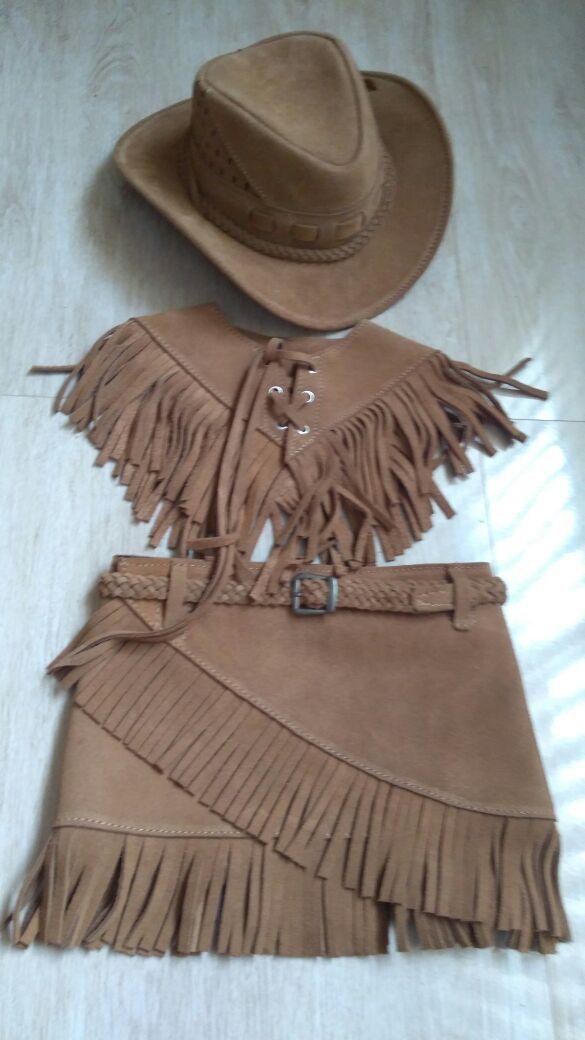 Conjunto country infantil couro saia + colete +chapéu no Elo7 ... 7deca629318
