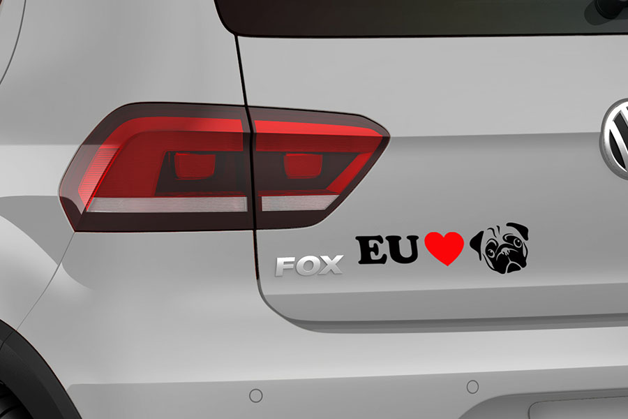 7c60973e31 Adesivo Automotivo Para brisa ou capo Eu Amo Pug Love Pug no Elo7 ...