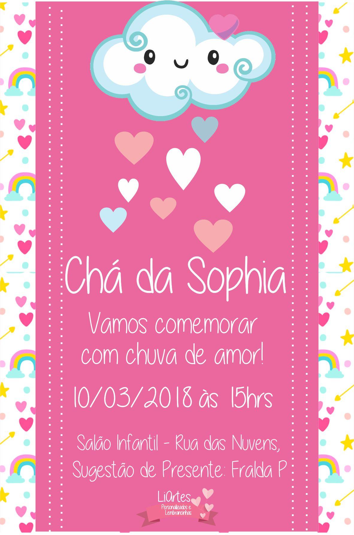 Convite De Aniversário Moderno Arte Chuva De Amor Elo7