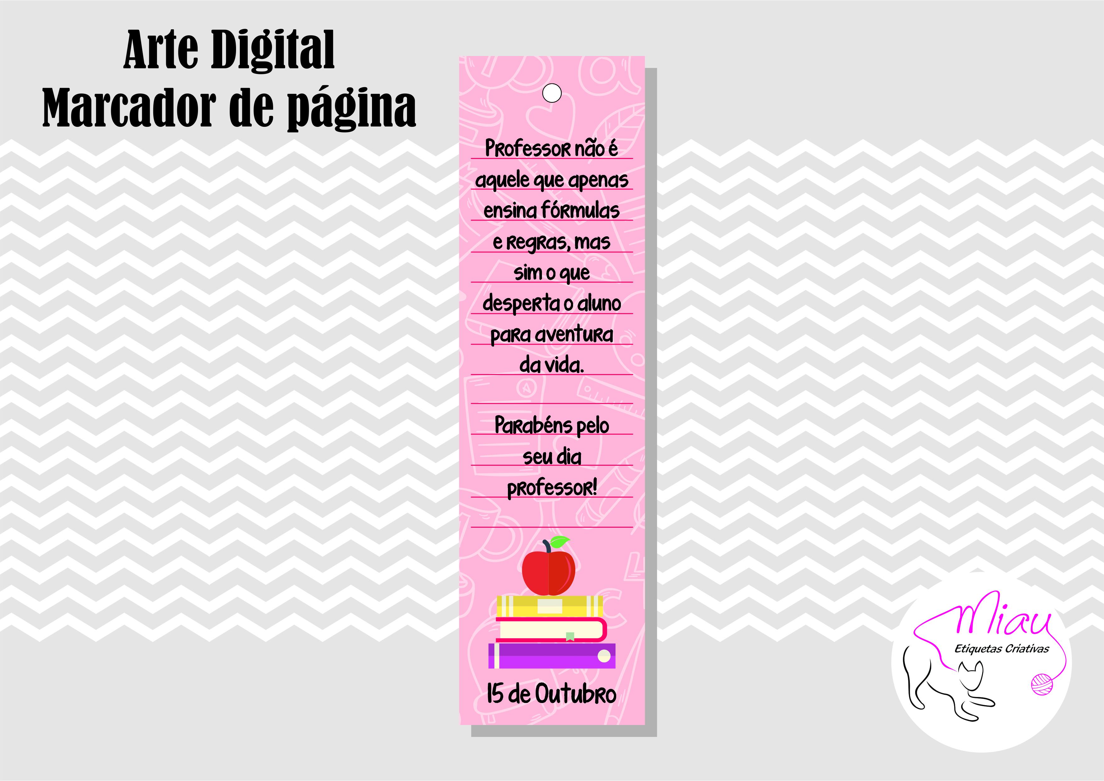 Marcadores De Pagina Professor 5 Arte Digital No Elo7 Miau