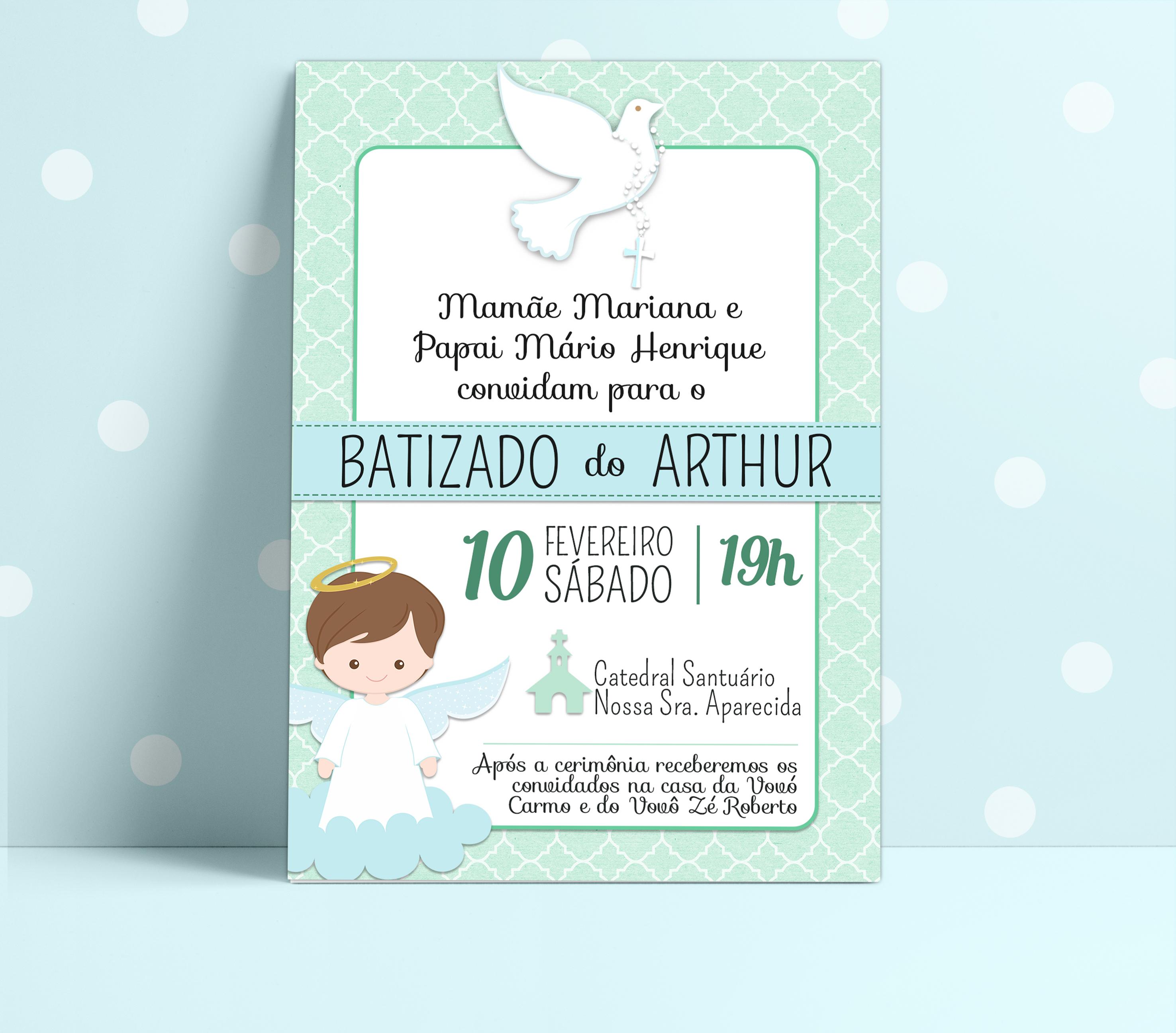 convite personalizado batizado no elo7 ah design b75e0e
