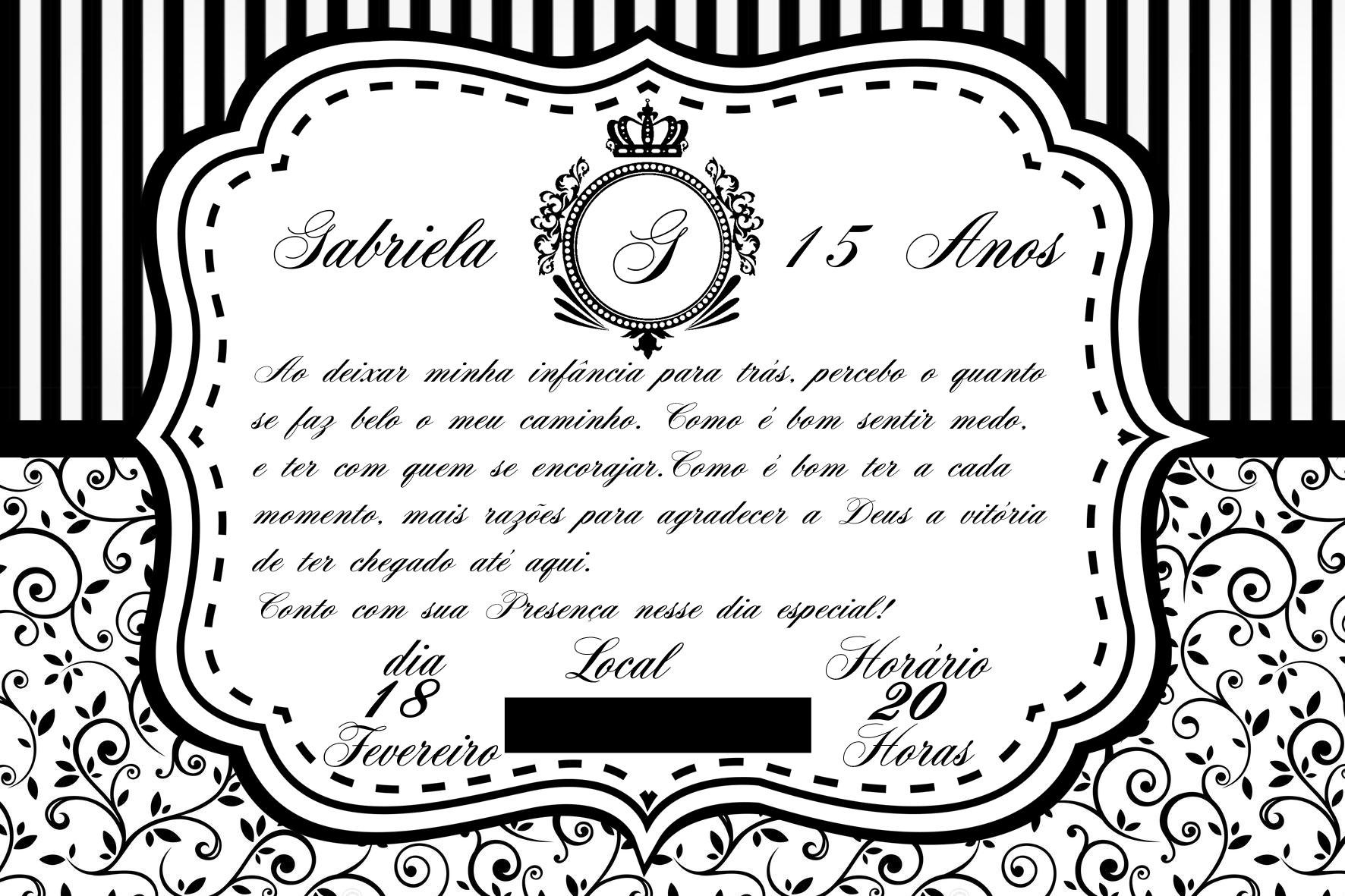 Convite De Aniversário Branco Preto E Dourado Elo7