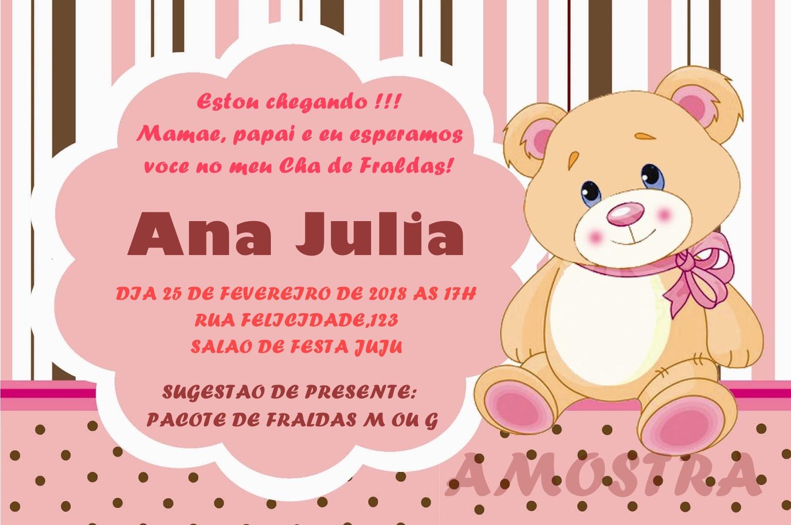 Mensagem De Convite De Cha De Fralda: Convite Cha De Fraldas Para Imprimir 2 Convites Alice T