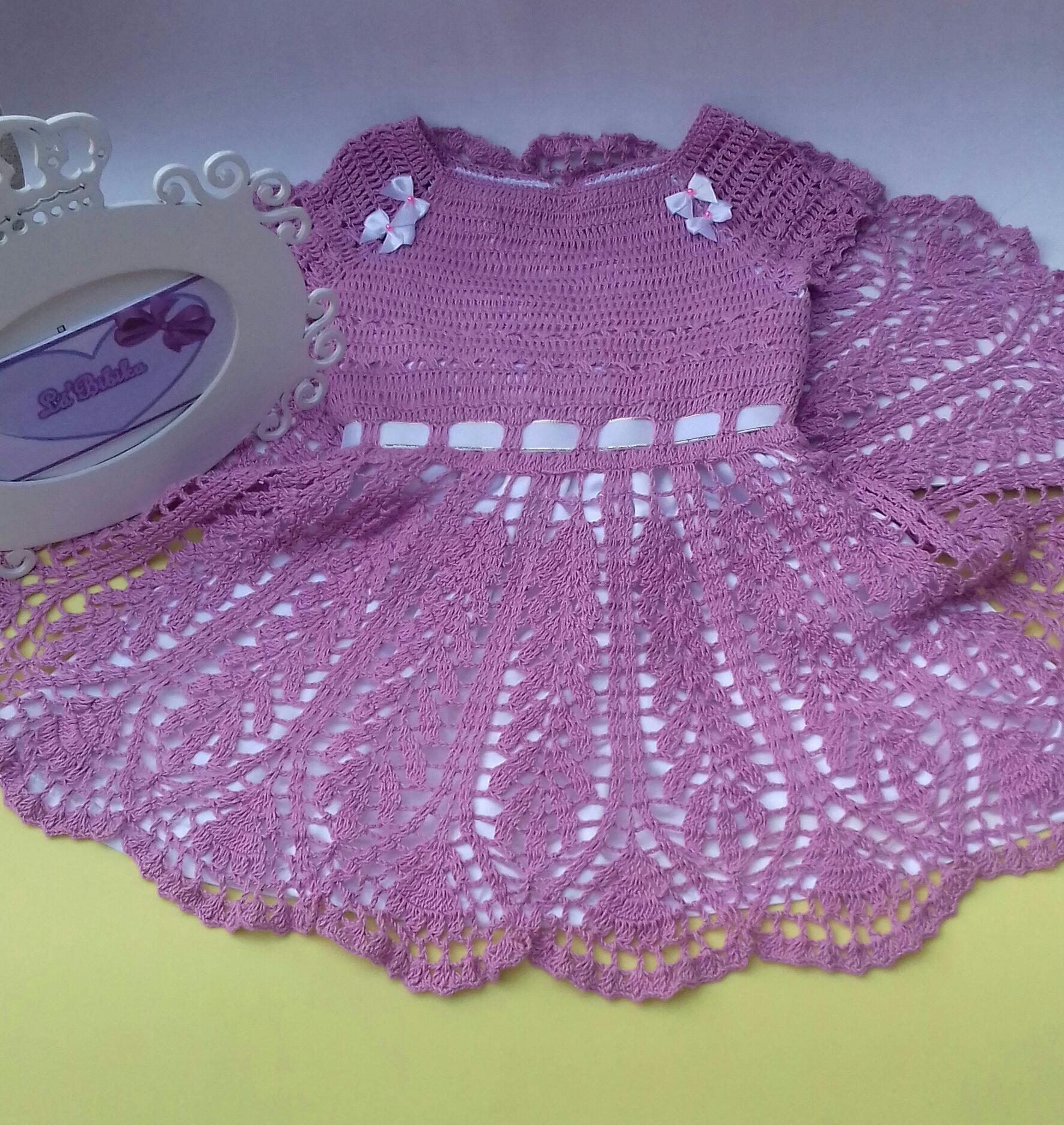 93a5be552 Vestido de croche com forro + faixinha de cabelo (3-6 meses) no Elo7 |  LáBibika (850730)