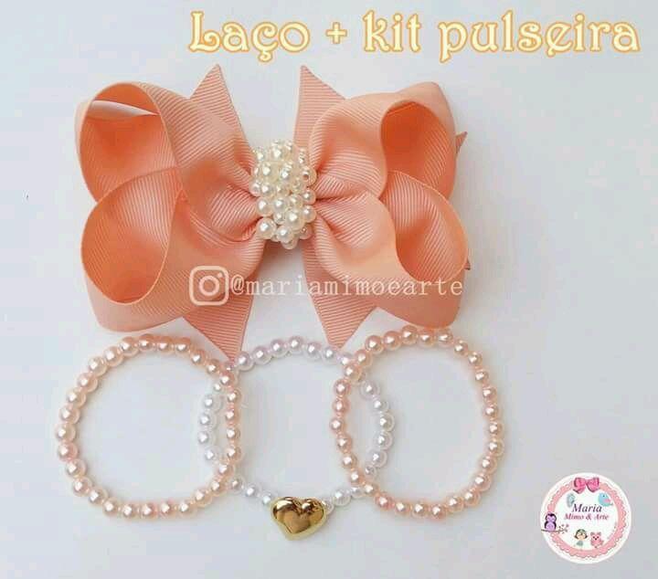 29eef1d10f1135 Kit laço + pulseiras