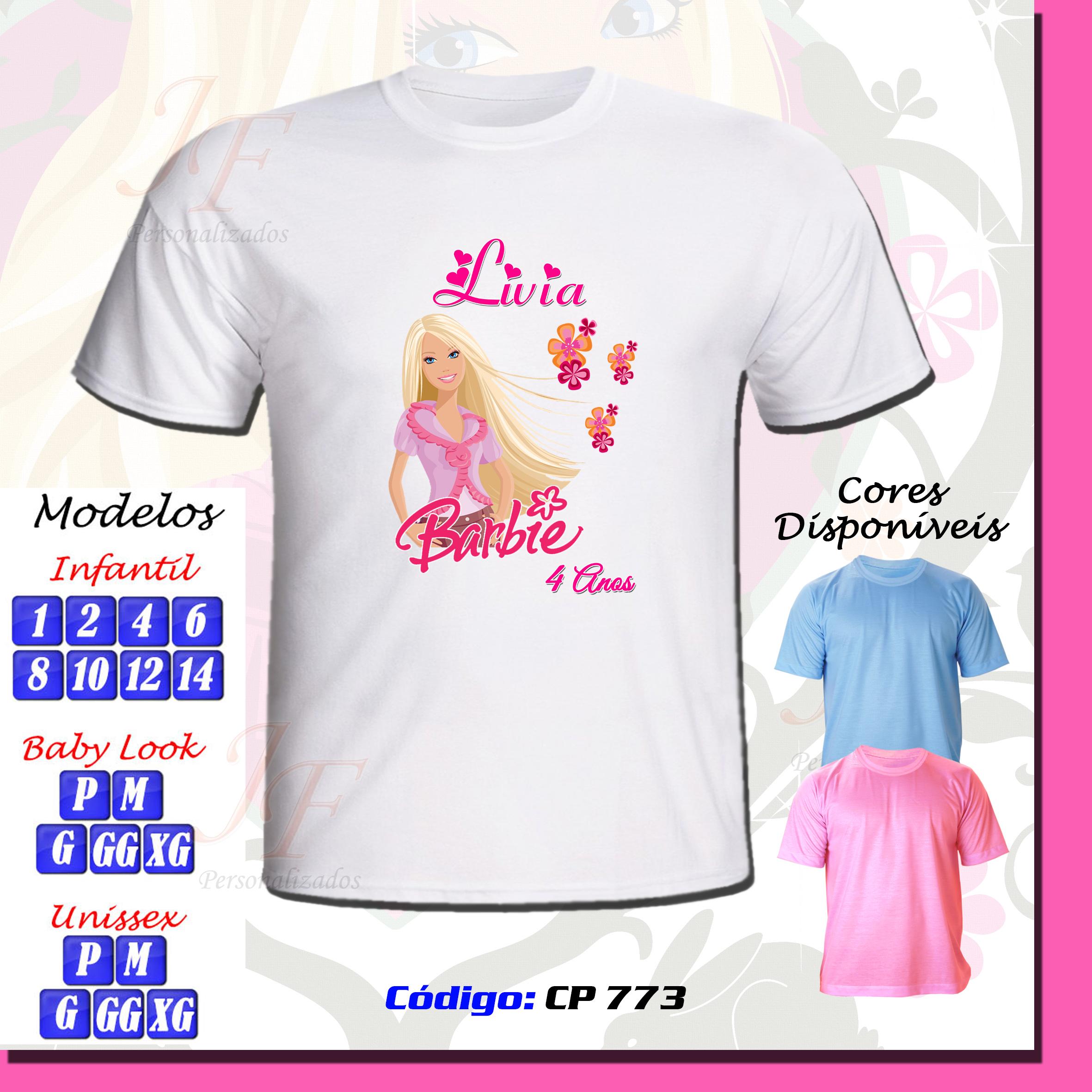Camiseta Blusinha Barbie Infantil  abb35b82f2ec4