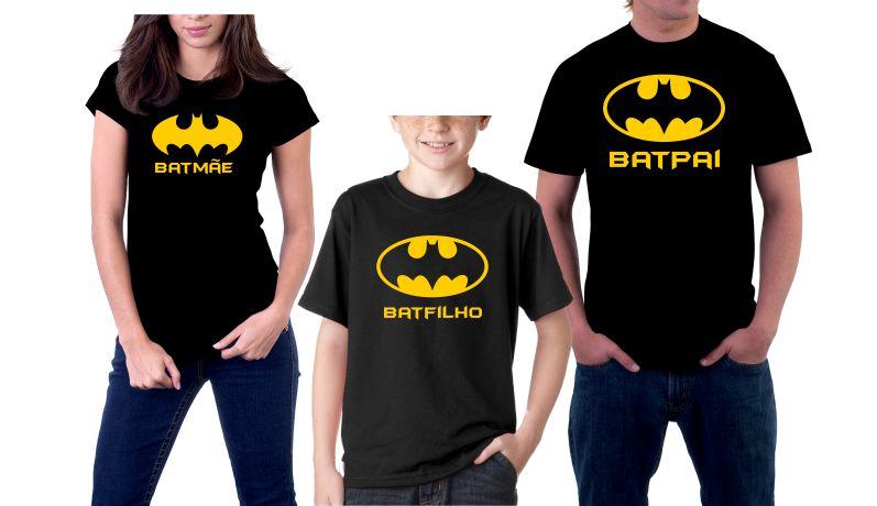 Kit Camisetas Bat Mae Bat Pai Bat Filho  91b0b9a23ed
