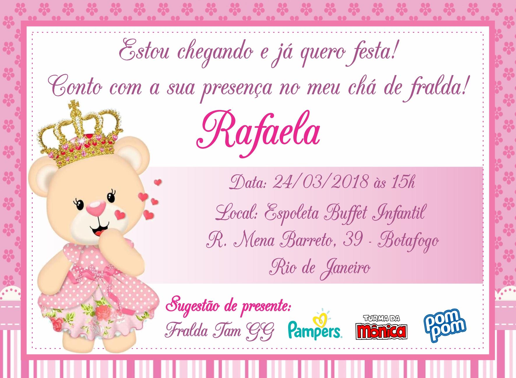 Convite Digital Chá De Fralda Ursa Princesa Rosa No Elo7 Marcante