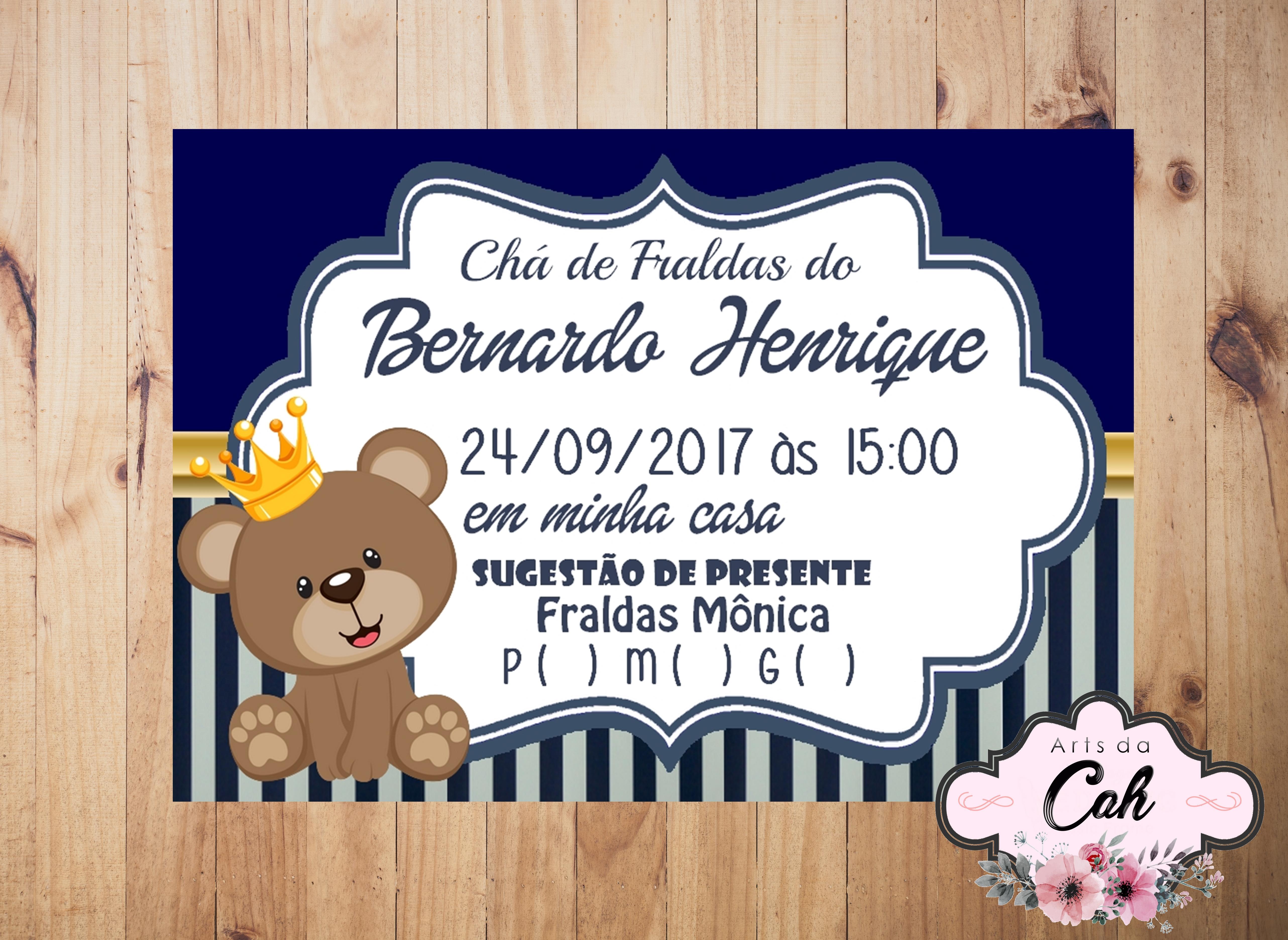 Convite Para Cha De Fralda Urso Principe Elo7