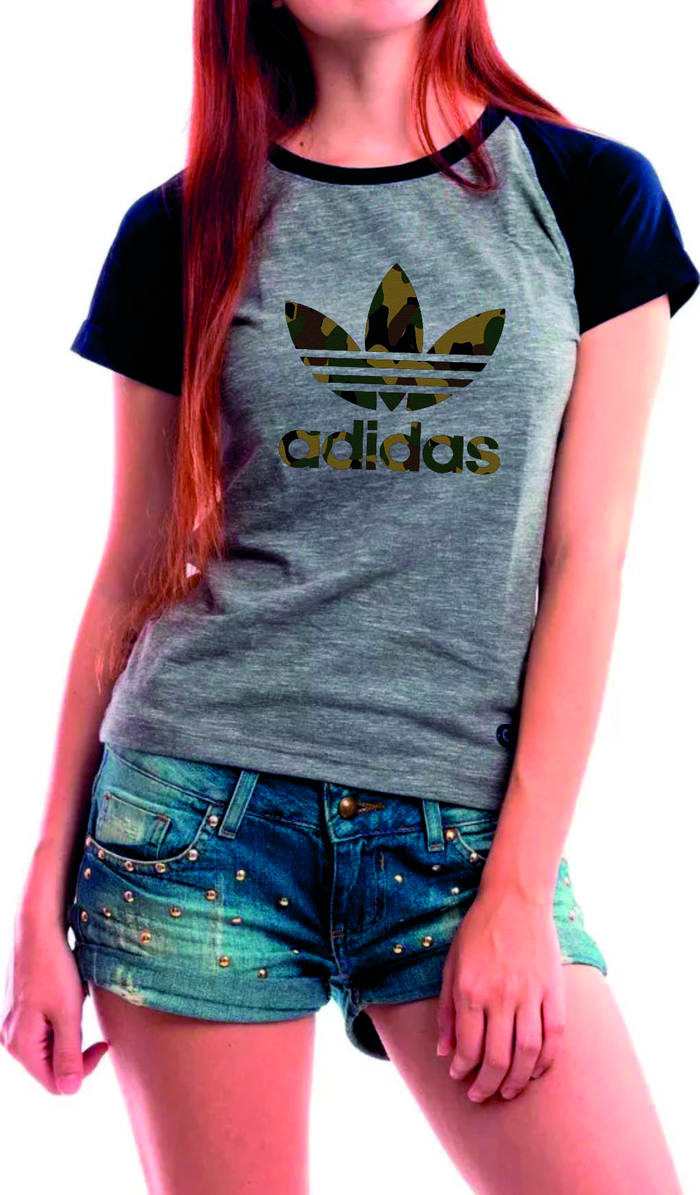 ae261ee81b6 Camiseta Baby Look Preta Adidas Feminina