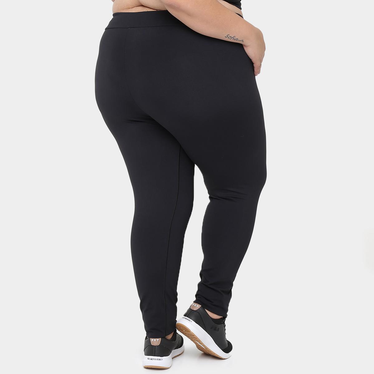 a10d8639a892 Legging Plus Size Preta Cotton Cintura Alta Elastico No Cos | Elo7