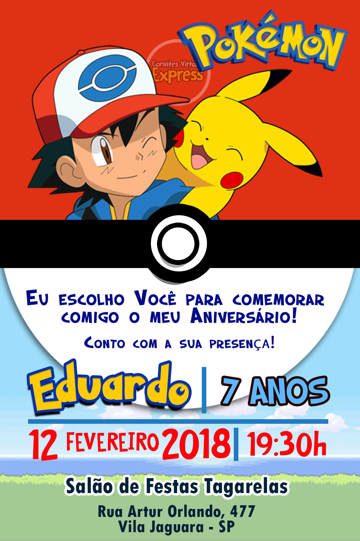 Pokemon Convite Virtual Envio Digital