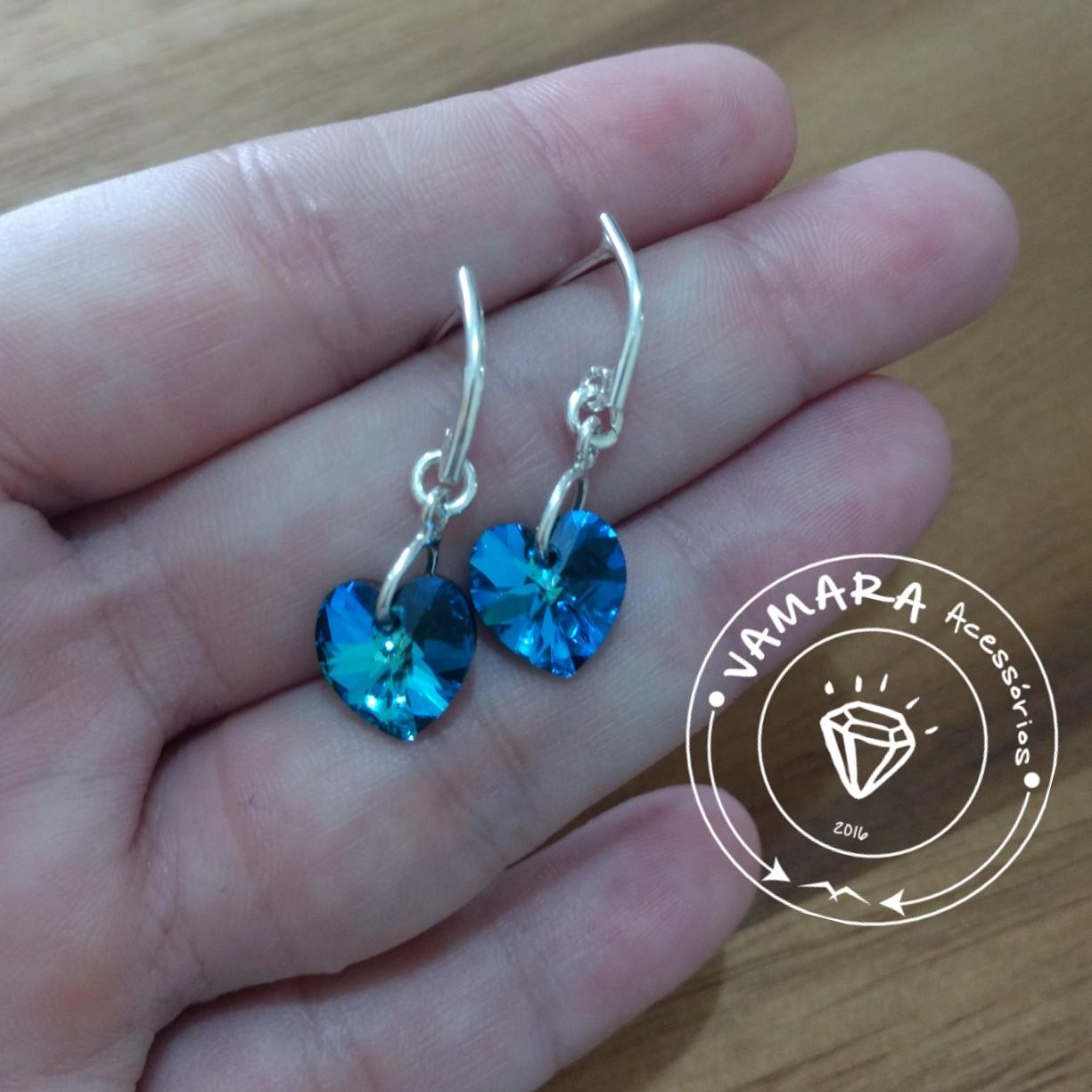 c428dc44175d Brinco De Prata 925 E Cristal Swarovski Coração Azul