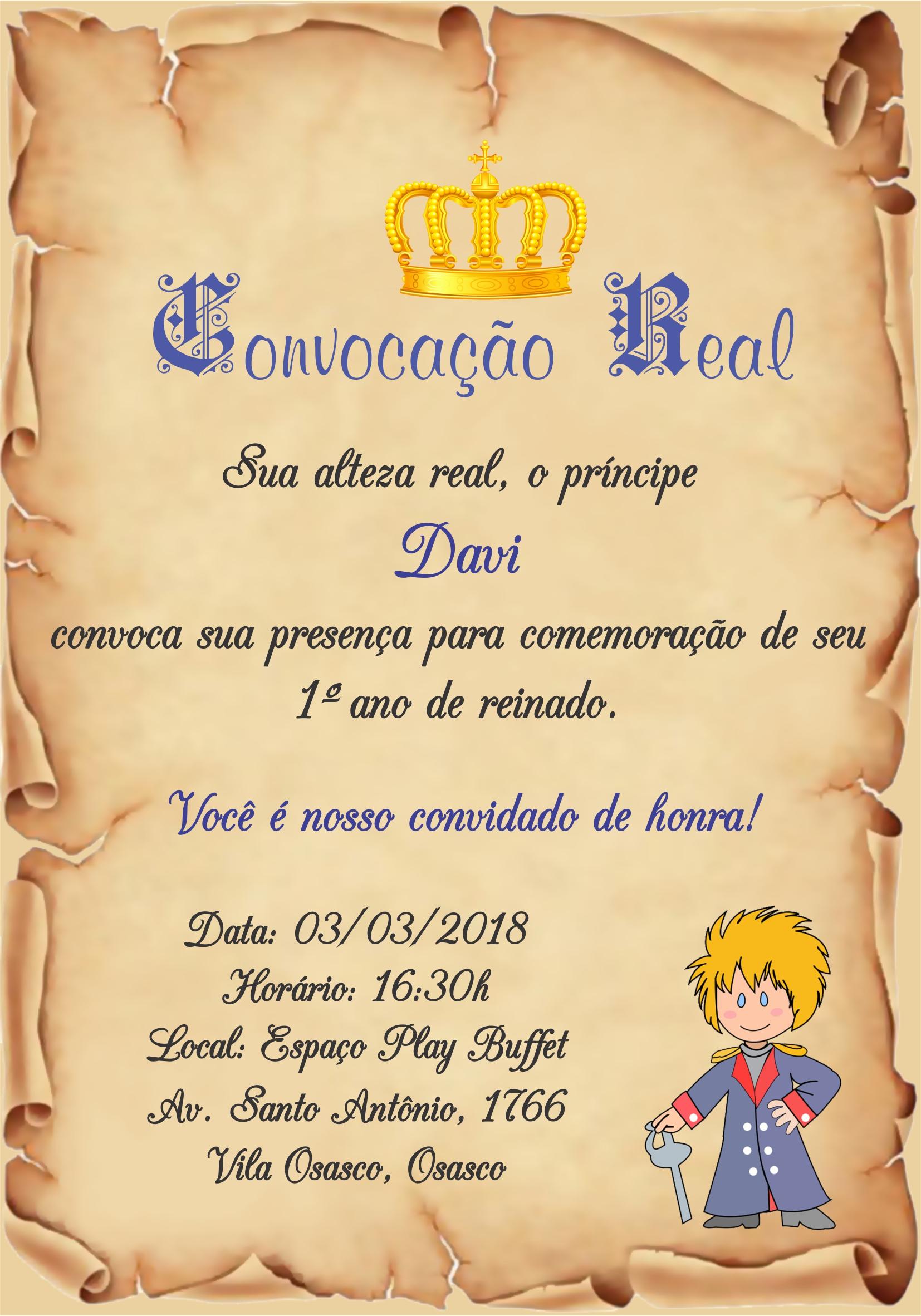 Convite Digital Aniversário Pergaminho Pequeno Príncipe no Elo7 | Marcante  Artes (B8B073)