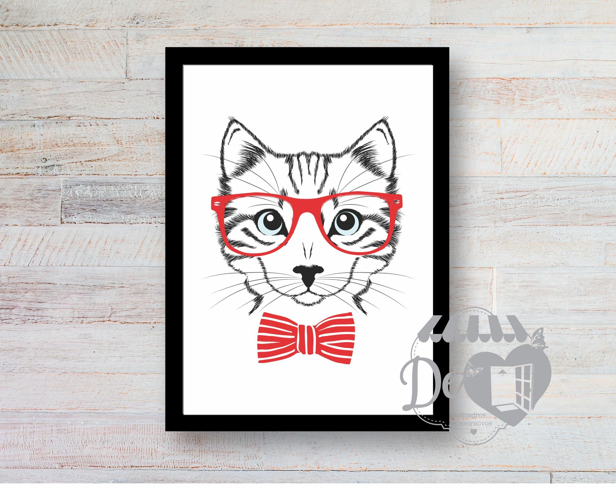 Quadro Gato com Oculos   Elo7 0163d5f263