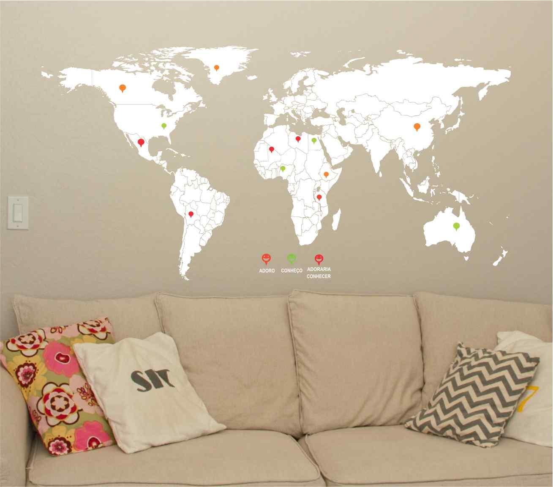 Adesivo De Parede Mapa Mundi Legenda Pins 2mx1m Adesivos  ~ Papel De Parede Mapa Mundi Quarto