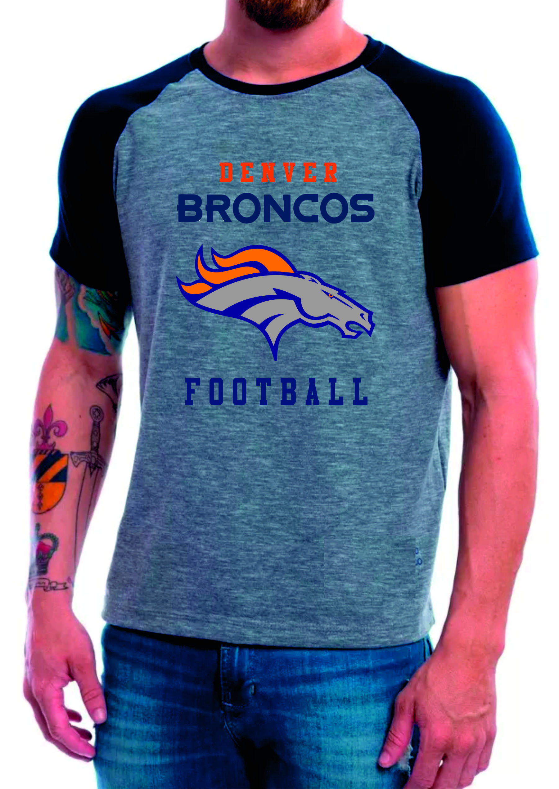 b2b35bb89d Camiseta Raglan Manga Curta Denver Broncos Futebol American no Elo7 ...