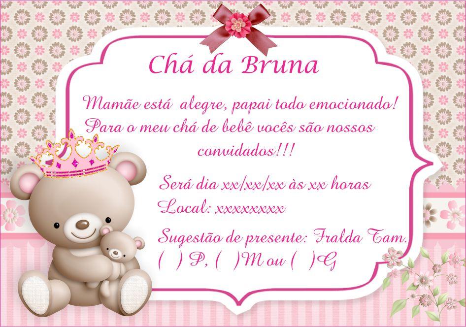 Convite Digital Chá De Bebe Chá De Fralda Ursa Princesa No Elo7