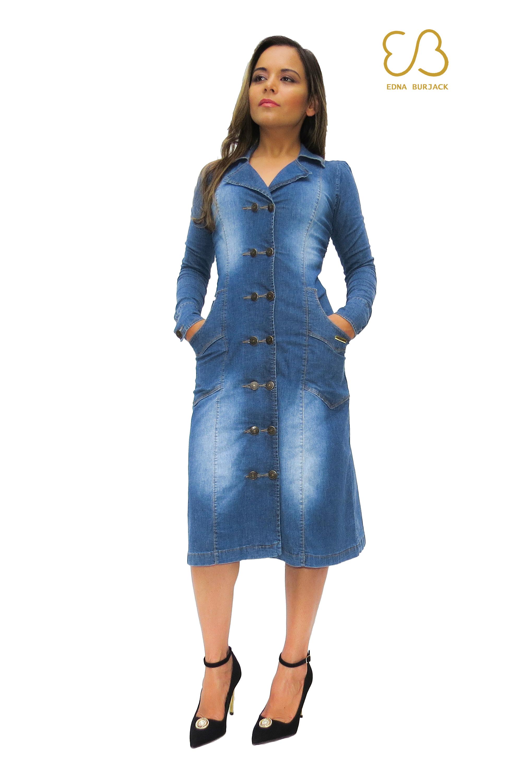 Vestido jeans longo manga comprida