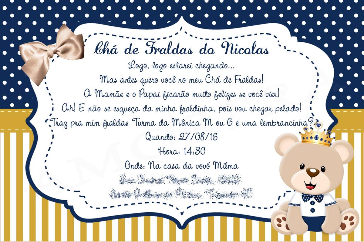 Populares Convite impresso cha de bebe cha de fralda personalizado no Elo7  FW16