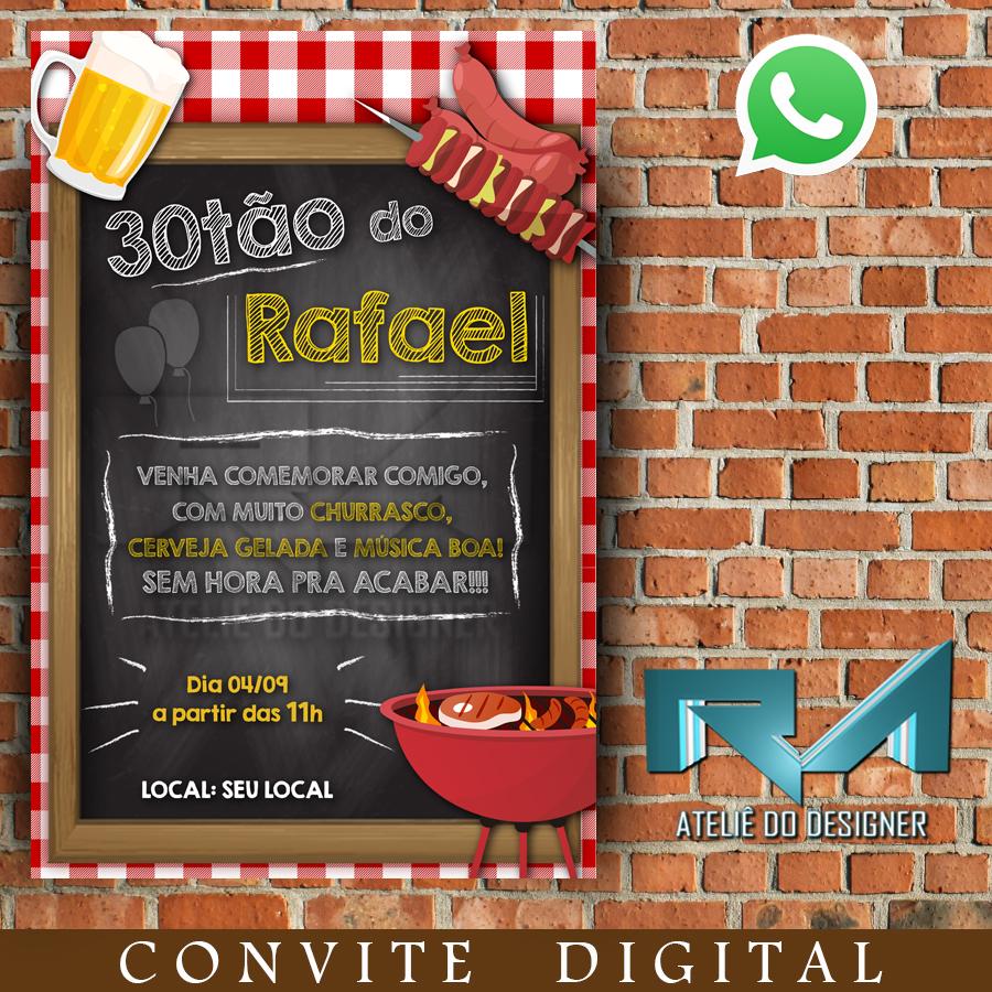 Churrasco Cerveja 30 Anos Convite Digital Elo7