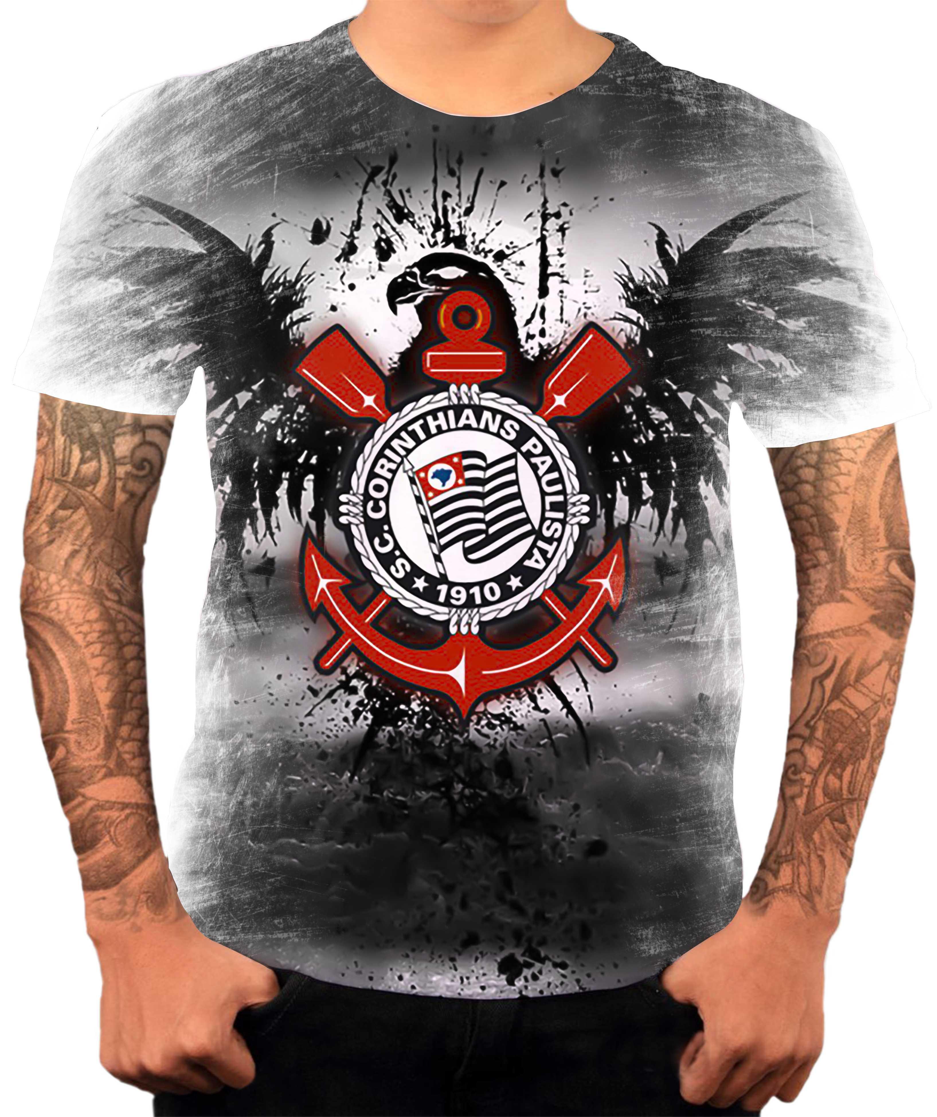 Camisa Camiseta Personalizada Time de Futebol Corinthians 2  e9997a9b7aac9