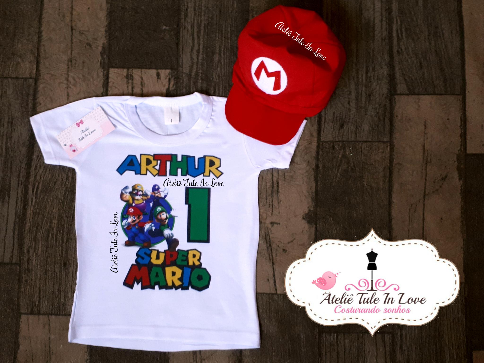 Camiseta Super Mario Estampado Boina  c0466596648