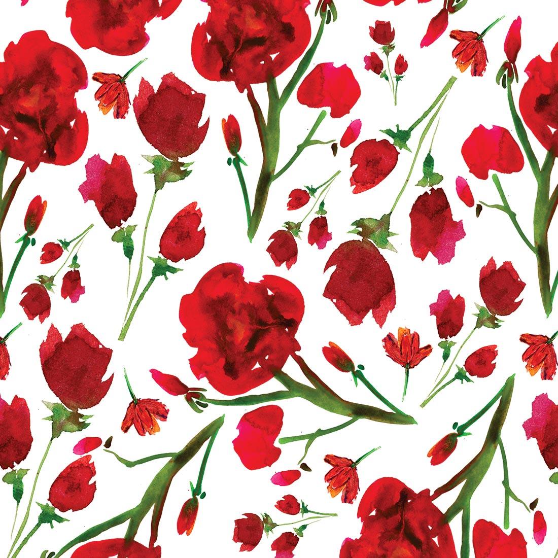 Papel De Parede Adesivo Rosas Vermelhas Em Guache Brinde
