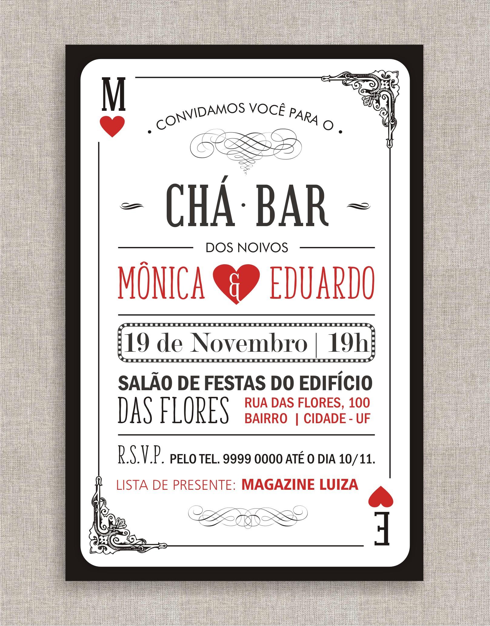Extremamente Convite Chá Bar Impresso no Elo7 | Lyana Lacerda (BD0762) FC68