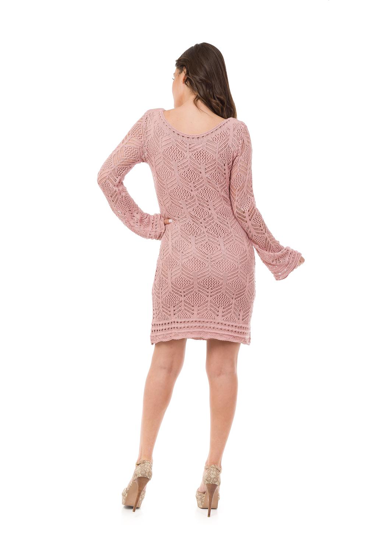 cc7145564c Vestido Curto Feminino Tricot Decote Canoa Rosa Claro 05008 no Elo7 ...