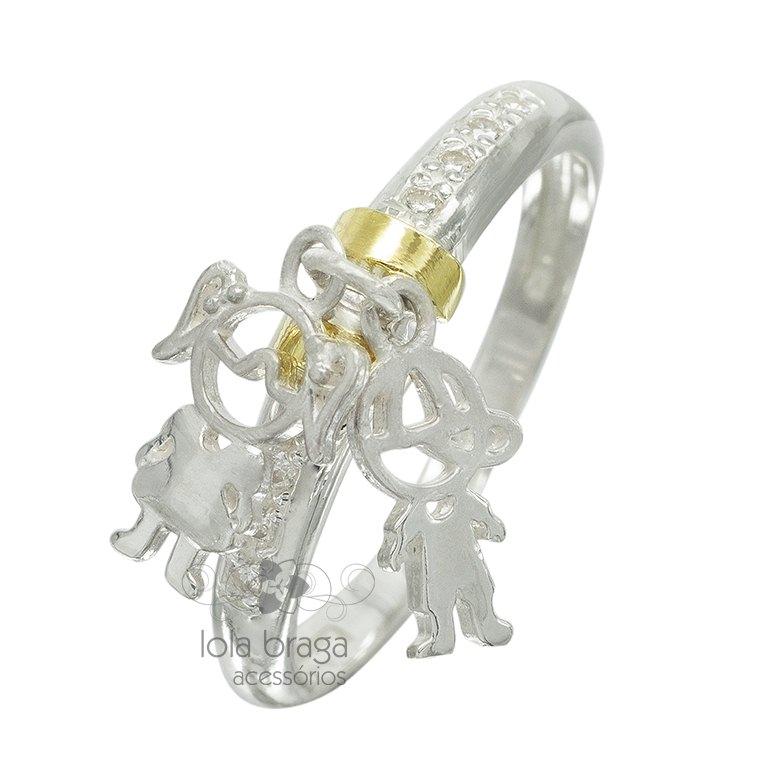 Anel em Prata com Filetes de Ouro   Elo7 93ed0196b8