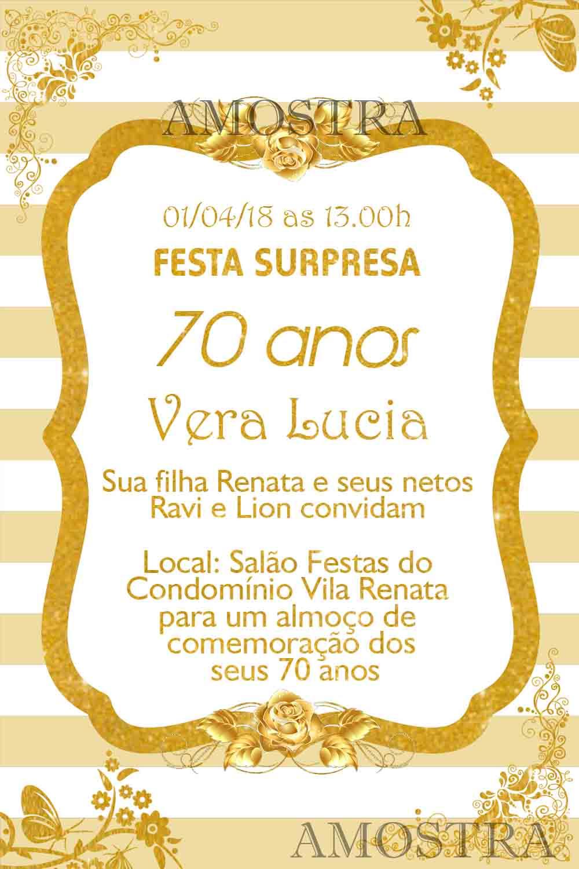 Convite Aniversário 70 Anos Elo7