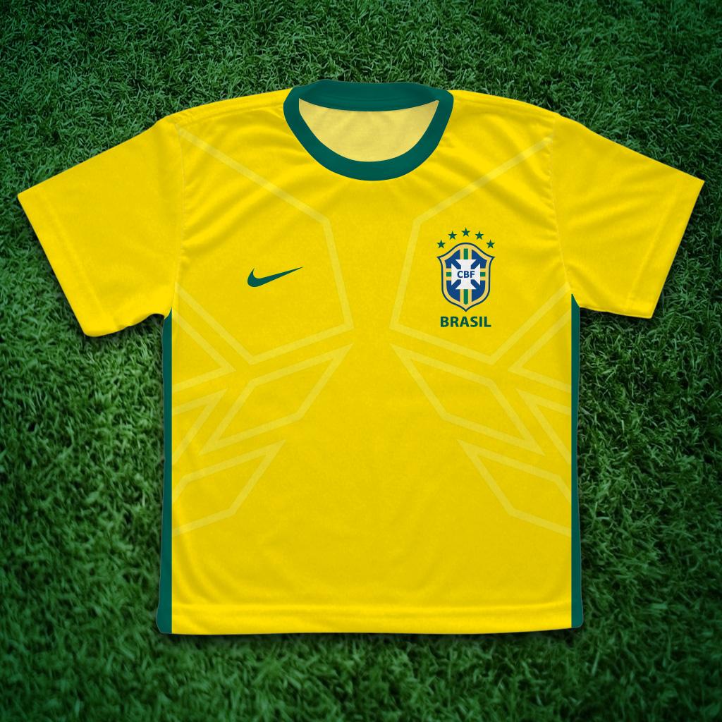 a7edcc104a Camiseta do Brasil com Nome Nas Costa