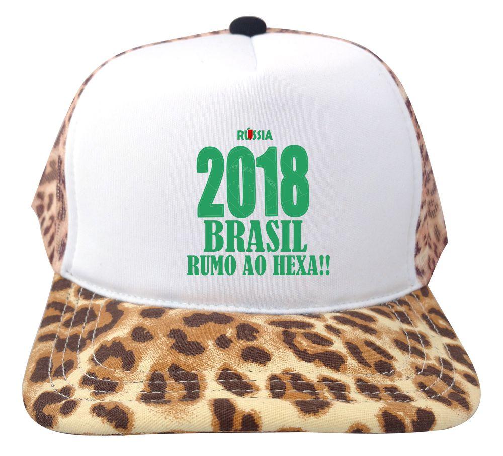 161814adb4 Boné Trucker Branco e Onça Russia 2018 Brasil Copa
