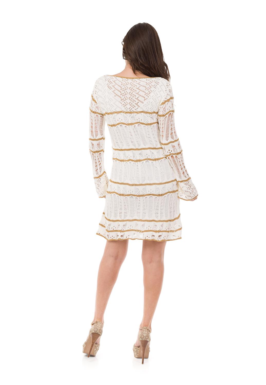 0651326bc Vestido Curto Feminino Tricot Listras Ondas Off-White 04876 no Elo7 | Loja  Pink Tricot (BDCB6D)