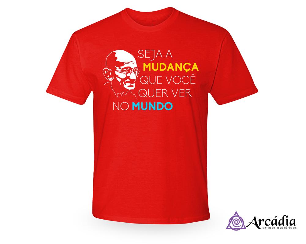 43417c5a45aa Camiseta Gandhi Frase Pensador   Elo7